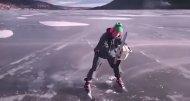 По льду на бензопиле
