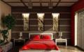 Спальня с красной кроватью