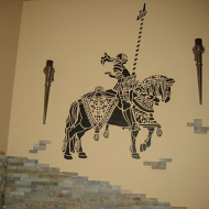 Средневековый рыцарь в интерьере