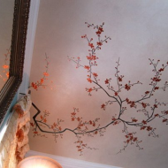 Нежный рисунок на потолке с использованием техники