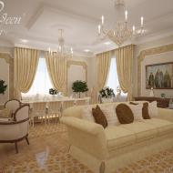 Дизайн гостиной в частном коттедже