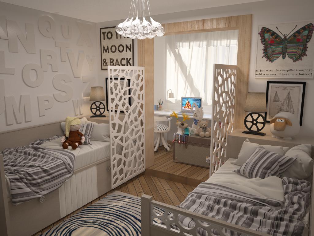 """Дизайн детской комнаты для двух разнополых детей """" современн."""